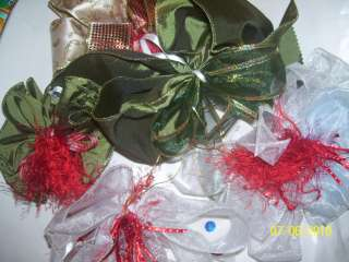 CUSTOM GIFT BOWS~ SAGE / ARMY GREEN W RED ~ELEGANT PKG BOWS~ RIBBONS
