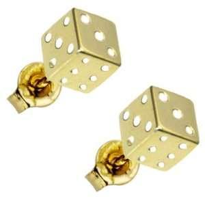 14k Yellow Gold Flat Dice Stud Earrings Jewelry