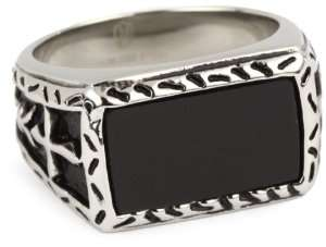 MC by Maksim Stainless Steel Black Agate Mens Ring, Size 9 Jewelry