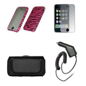 Case Cover+LCD Screen Protector+Car Charger for Apple iPhone 3G