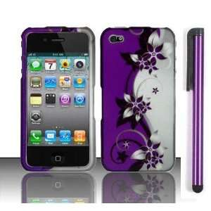 Apple Iphone 4, 4s Phone Protector Hard Cover Case Purple Silver Black