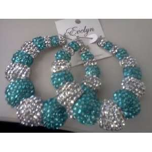 Basketball Wives Silver & Turquoise Bamboo Hoop Earrings