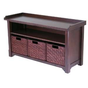 Bench With Storage Shelf And 3 Small Baskets; 2 Cartons By