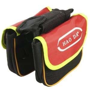 Bicycle Detachable Closure Red Black Nylon Double Saddle Front Bag