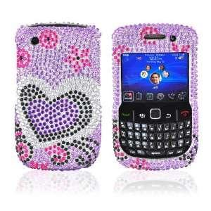 Blackberry Curve 8520 8530 Bling Case Purple Heart TOOL