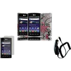 Pink Splash Full Diamond Bling Case Cover+LCD Screen