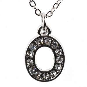 Bling Silver Tone Pendant Necklace with O Initial Pendant