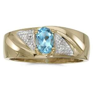 December Birthstone Oval Blue Topaz And Diamond Gents Ring Jewelry