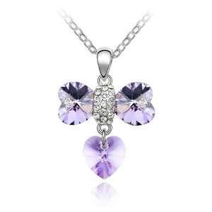 Plated Light Purple crystal Heart Bow Pendant Necklace, Free 18 Chain