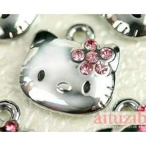 com hello kitty pink rhinestone bow SILVER HOOP earrings and NECKLACE
