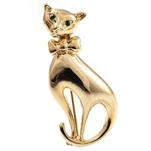 Polished Gold Tone Sitting Cat Brooch Jewelry