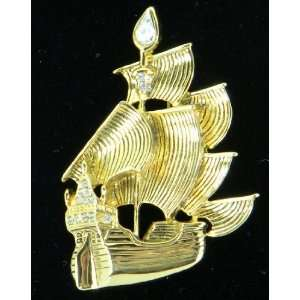 Gold Tone Pirate Ship Brooch Pin with Crystals