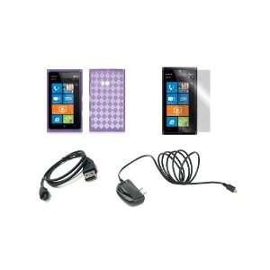 Lumia 900 (AT&T) Premium Combo Pack   Purple Argyle TPU Case Cover