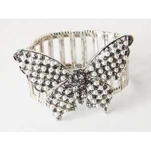 Faux Pearl Beads Crystal Rhinestone Butterfly Fashion Stretch Bracelet