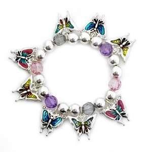 Charm Bracelet; Silver Metal; Butterfly Charms; Stretch Jewelry