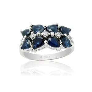 Carat Sapphire Ring With 18k White Gold Plating 925 Sterling Silver