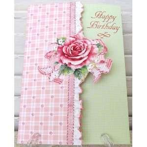 Carol Wilson Feminine Birthday Card   Pink Gingham Rose