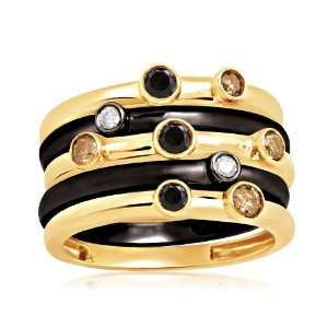 18k Gold Plated Sterling Silver Champagne, Black and White Diamond