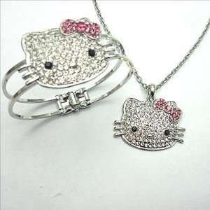 Hello Kitty White Crystal Pink Bow Charm Pendant 20 Silver tone Rollo