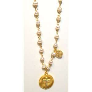 FRonay 14k Gold Plated Pearl Charm Necklace With CZ Cross Pendant and
