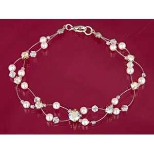 Swarovski Crystal Silver Pearl Bead Bracelet Arts, Crafts & Sewing