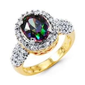 Cluster Round CZ Oval Mystic Fire Topaz 14k Gold Ring Jewelry