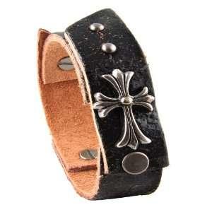 Genuine Leather Bracelet   Gladiator Celtic Cross   Black Jewelry