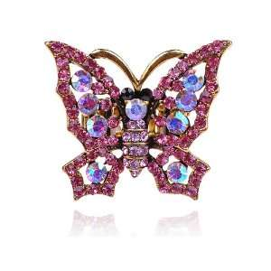 Tone Rose AB Pink Crystal Rhinestone Fairy Tale Cute Butterfly Ring