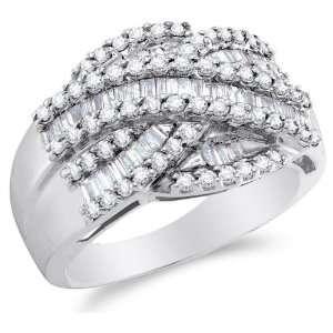 Size 6   14K White Gold Large Diamond Cross Over Wedding , Anniversary