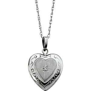 14k White Gold Diamond Heart Locket Necklace, 18 (GHI
