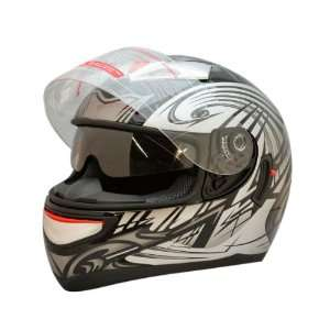 Dot Adult Black Tribal Dual Visor Full Face Motorcycle Street Helmet
