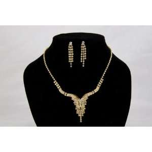 Swarovski Crystal Gold Necklace and Earring Set for Prom