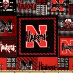 Fleece University Of Nebraska Allover Fabric By The Yard: Arts, Crafts