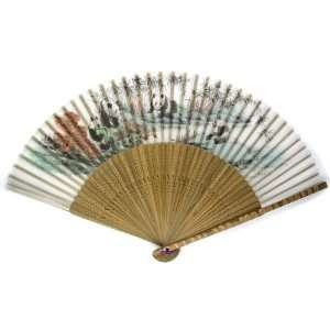 Panda Bear Bamboo Wood Oriental Silk Folding Fan