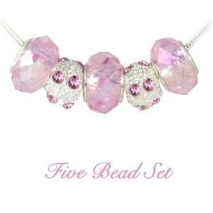 Pink Faceted Crystal Glass Beads, Pandora compatible Bracelet Beads