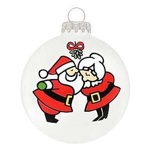 Mr. & Mrs. Claus Mistletoe Glass Ornament