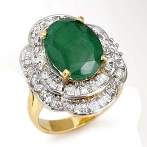 Genuine 7.04 ctw Emerald & Diamond Ring 14K Yellow Gold Jewelry