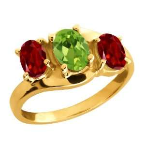 1.90 Ct Oval Green Peridot and Red Garnet 14k Yellow Gold