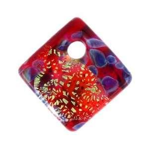 Handmade Ruby Red Boro Glass Diamond Shaped Bead Arts, Crafts