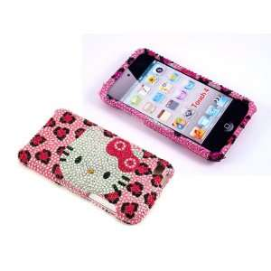 Smile Case Hello Kitty Pink Leopard Cheetah Rhinestone Crystal Jeweled