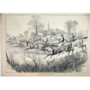 1878 Horse Racing Jockey Jumping Village Antique Print