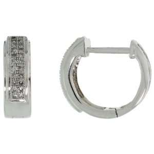 14k White Gold Diamond Huggie Earrings w/ 0.15 Carat Brilliant Cut