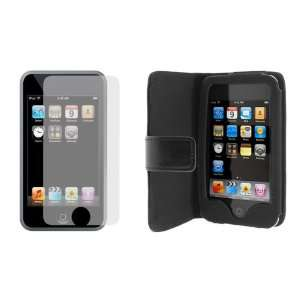 Folio Wallet Leather Case and Screen Protector for Apple Ipod Touch