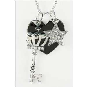 Silverplated Crystal Heart Key & Star Charm Necklace 16 18 Jewelry