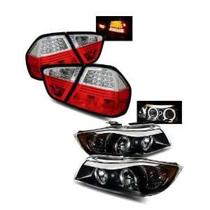 Series 4Dr Black LED Halo Projector Headlights + LED Tail Lights Combo