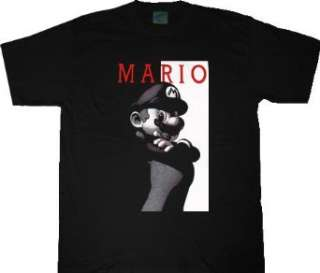 Nintendo Mario Scarface Parody Black T shirt Tee Clothing