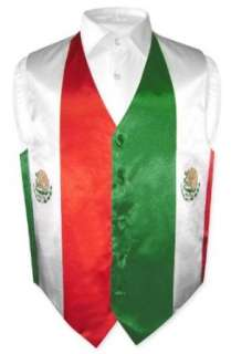 Mens Mexican Flag Dress Vest for Suit or Tuxedo Clothing