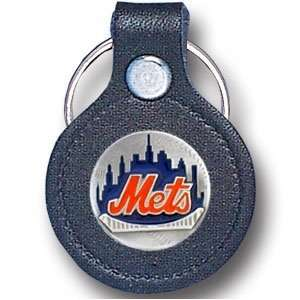 New York Mets Small Leather Pewter Key Ring   MLB Baseball Fan Shop
