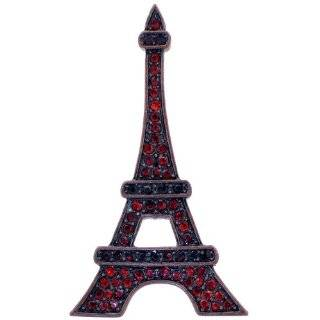 Amethyst Paris Eiffel Tower Purple Pink Rhinestone Pin Brooch Necklace