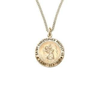 Saint Christopher Pendant Necklace with Land, Sea and Air Design, 24